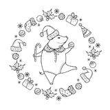 Vector greeting with outline happy pig with Christmas ball in black isolated. Symbol of Chinese New Year 2019 in contour style. vector illustration