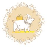 Vector greeting of outline pig with Christmas gift in pastel beige isolated. Symbol of Chinese New Year 2019 in contour style. royalty free illustration