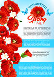Vector greeting poster of spring poppy flowers Royalty Free Stock Photography