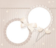 Vector greeting wedding two frame for photo. With a bow, pearls and lace vector illustration