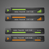 Vector grey audio player, for web. Vector grey audio player for web Stock Image