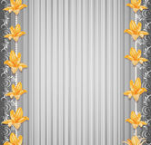 Vector grey background  with border lilies Stock Photos
