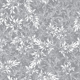Vector Grey Blossom Branches Leaves Summer Seamless Pattern Background. Great for elegant gray texture fabric, cards Royalty Free Stock Image