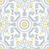 Vector grey blue yellow tribal seamless pattern Royalty Free Stock Images