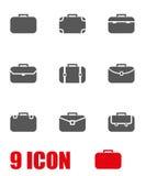 Vector grey briefcase icon set Royalty Free Stock Image