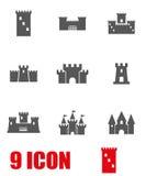 Vector grey castle icon set Stock Photo