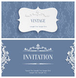 Vector Grey 3d Vintage Invitation Card with Floral Damask Pattern Royalty Free Stock Image