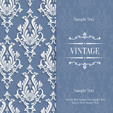 Vector Grey 3d Vintage Invitation Card with Floral Damask Pattern Stock Photography
