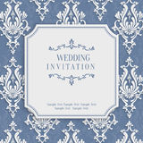 Vector Grey 3d Vintage Invitation Card with Floral Damask Pattern Royalty Free Stock Photos