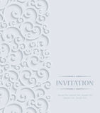 Vector Grey 3d Vintage Invitation Card with Floral Damask Pattern Royalty Free Stock Images