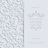 Vector Grey 3d Vintage Invitation Card with Floral Damask Pattern. Vector Gray Vintage Background with 3d Floral Damask Pattern for Greeting or Invitation Card Stock Photography