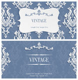 Vector Grey 3d Vintage Invitation Template with Floral Damask Pattern Royalty Free Stock Images