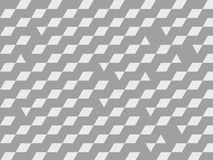 Vector grey geometric background. Optical illusion pattern made of cubes or various geometric shapes Stock Photos