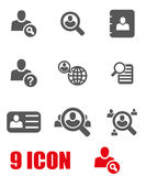Vector grey people search icon set Stock Images