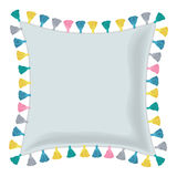 Vector Grey Pillow Decorated With Colorful Decorative Tassels. Editable Template Design. Royalty Free Stock Photography