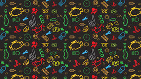 Vector grey seamless pattern. Car dashboard icons texture. Repeating dtc code signs. Coloured, irregular, check engine big sign. Seamless pattern with car Stock Image