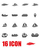 Vector grey ship and boat icon set Stock Images