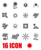 Vector grey solar energy icon set Stock Images