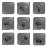 Vector grey square web buttons Stock Photos