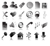 Vector grey web icons Stock Photo
