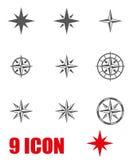 Vector grey  wind rose icon set Stock Photos