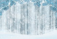 Vector Christmas background. Vector grey wooden  background, snow  and fir branches  border for Christmas design Royalty Free Stock Images