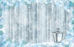 Vector  Christmas background. Vector grey wooden  background, snow  and fir branches  border,  Christmas  lantern  for Christmas design Stock Images