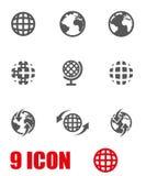 Vector grey world map icon set Stock Image