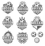 Vector Greyscale soccer logos Stock Photography