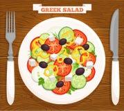 Vector Griekse salade op een plaat Mening vanaf de bovenkant Stock Foto