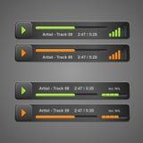 Vector grijze audiospeler, voor Web Stock Afbeelding