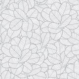 Vector grijze naadloze de bladerentextuur van de lijnkunst stock illustratie