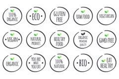 Vector grijze symbolen met groene bladeren op wit Gezonde Voedselemblemen Royalty-vrije Stock Foto's