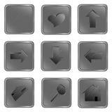Vector grijze vierkante Webknopen stock illustratie