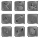 Vector grijze vierkante Webknopen Stock Foto's
