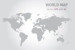 Vector grijze wereldkaart op grijze achtergrond Stock Foto's
