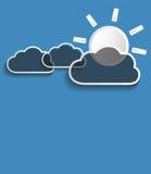 Vector grijze wolken met zon Stock Fotografie