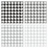 Vector grijze, zwart-witte het patroonreeks van de Houndstoothtegel Royalty-vrije Stock Afbeelding