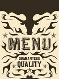 Vector grill - steak - restaurant menu design - western style Royalty Free Stock Photography
