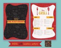 Vector Grillgrillrestaurantflieger, Menüdesign Vector Schablone mit von Hand gezeichneter Grafik und nahtlosem bbq-Muster Lizenzfreie Stockfotos