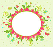 Vector grin greeting card with spring flowers Royalty Free Stock Photography