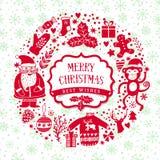 Vector a grinalda circular, molde do cartão do Natal, Feliz Natal Projeto do feriado de inverno, projeto da grinalda do quadro fe Fotografia de Stock