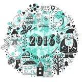 Vector a grinalda circular, molde do cartão do Natal, Feliz Natal Projeto do feriado de inverno, projeto da grinalda do quadro fe Foto de Stock