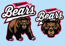 Grizzly bear mascot set Stock Image