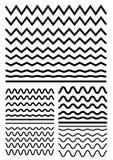 Vector großen Satz nahtlose gewellte - curvy und Zickzack - criss kreuzen Stockfotografie