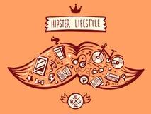 Vector großen Schnurrbart der Illustration des Hippie-Lebensstils mit diff Stockbild
