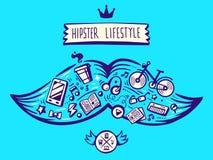 Vector großen Schnurrbart der Illustration des Hippie-Lebensstils mit diff Lizenzfreies Stockfoto