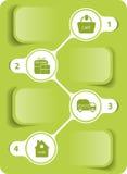 Vector groen diagram, hoe te op Internet te winkelen Stock Foto's