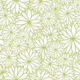 Vector groen en wit bloemen naadloos patroon stock illustratie