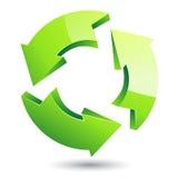 Vector groen kringloopsymbool op geïsoleerde witte achtergrond Stock Foto's